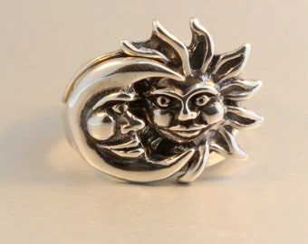 Moon Ring Sun Ring Silver Eclipse Ring Moon Jewelry Sun Jewelry Celestial Ring Eclipse Jewelry Celestial Jewelry Puzzle Ring Two Part Ring