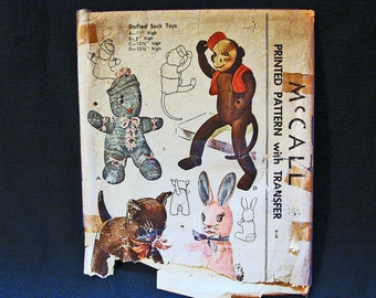 1940s Sock Doll Pattern McCalls Sock Monkey Pattern, Sock Bunny, Sock Doll, Sock Cat Vintage Sewing Pattern