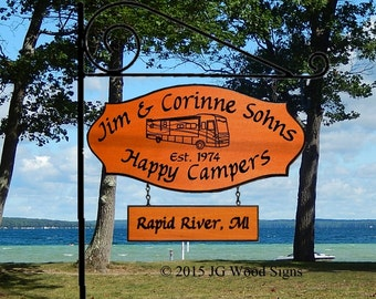 Motorhome Camping Location Add on Sign - Custom Carved  Camping Sign - Includes Rnd Garden Holder