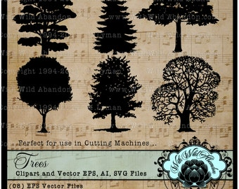 Trees SVG, Vector, ai,png, eps, png, TreeDigital Stamps, Patterns,Overlays, Silhouettes,