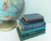 SALE! Home Decor Books, Instant Collection of Six Blue and Green Vintage Books