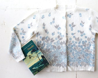 Vintage Floral Cardigan / Traumegarten Cardigan / 1960s Sweater / Large L