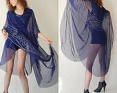 Draped Hippie CaftanVintage Sheer Navy Blue Chiffon Gypsy Bohemian Caftan Shawl Dress (one size)