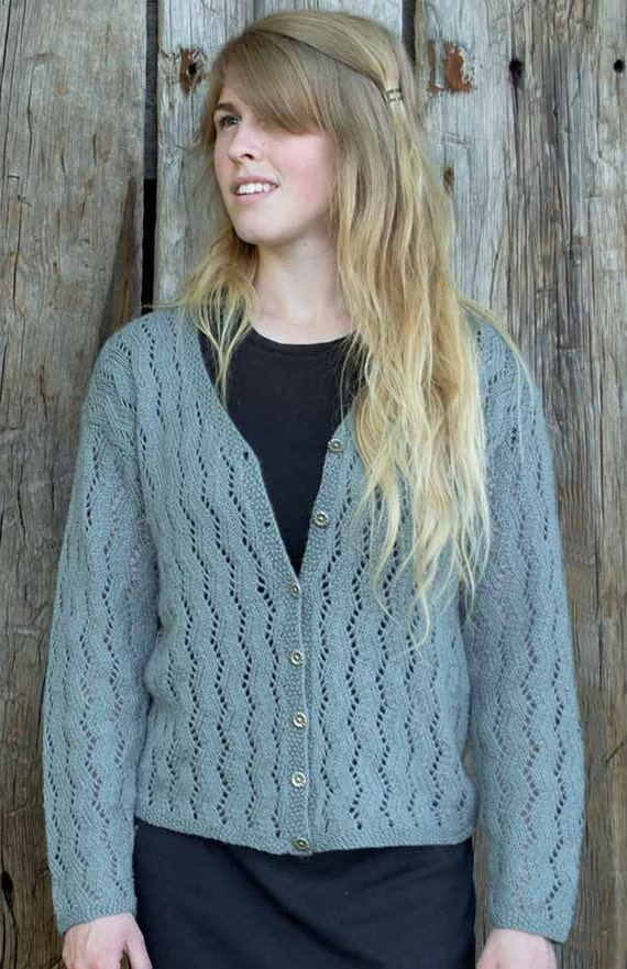 Knitting Pattern Sweater Lace : Zig Zag Lace Cardigan Knitting Pattern PDF