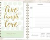 2016 planner | 2016-2017 calendar | custom weekly student planner | personalized planner agenda daytimer | mint polka dots live laugh love