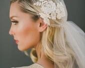 Lace Juliet Cap Veil, Bridal Veil, Wedding Veil, Alencon Lace Veil  Bohemian Veil, Champagne Veil, Cathedral Veil, Fingertip Veil  #1561