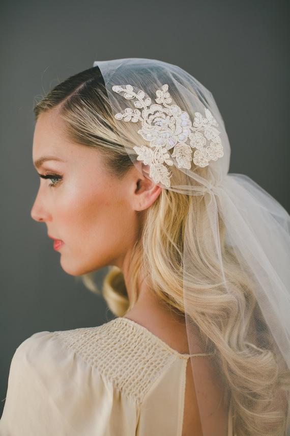 """SALE Lace Juliet Cap Veil, CHAMPAGNE Double Layer 37"""" with a 33"""" Blusher, Bridal Veil, Wedding Veil, Alencon Lace Veil, 1561"""