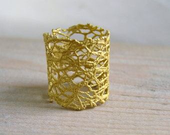 lace brass band ring - made to order