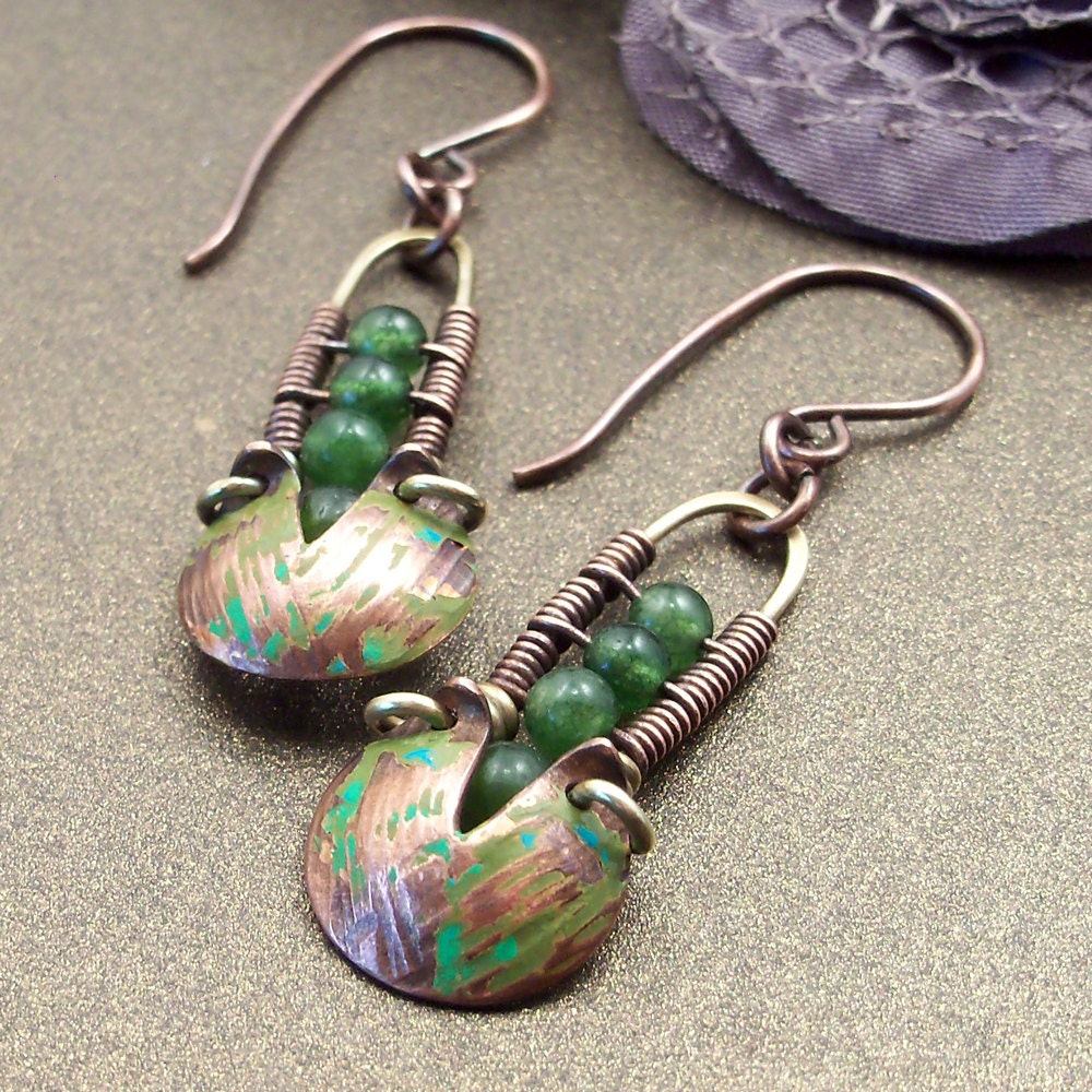 Wire Wrapped Handmade Jewelry Mixed Metal Earrings Boho