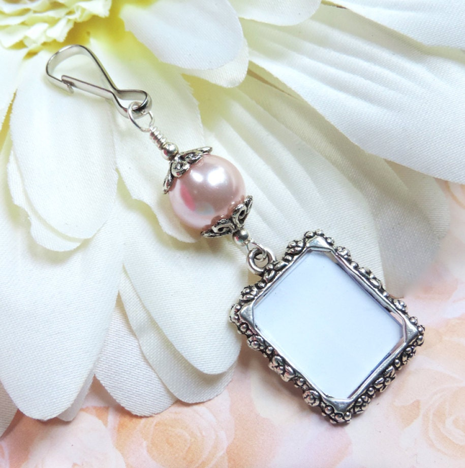 wedding bouquet photo charm pink pearl memorial by smilingbluedog