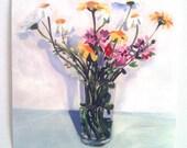 Spring flower bouquet- Folk art PRINT of acrylic painting- Still life of flowers /  wall art- wall decor- home decor art print - yellow