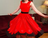Vintage 1950s Dress - Bright Tomato Red & Black Cotton Print 50s Sundress with Lavishly Full Skirt
