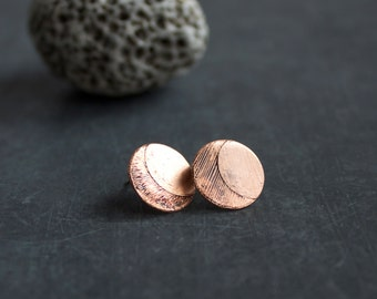 Etched Copper Half Moon Post Stud Earrings #2 Oxidized Crescent Sterling Silver Jewellery