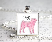 Paisley Pug Square Button Pendant Necklace with Paw Print Organza Bag
