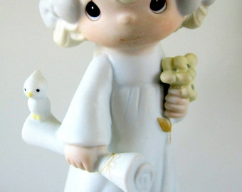 """Precious Moments """"The Lord Bless You and Keep You"""" Graduation Girl 1980 Figurine Enesco Cake Topper Gift"""