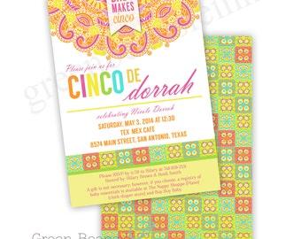 CINCO DE MAYO Printable Birthday Party Invitation - Printing Available