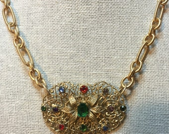 Necklace: Gold-colored, Early 1900's Shoe Buckle with Multicolored rhinestones Repurposed Into a Vintage Necklace
