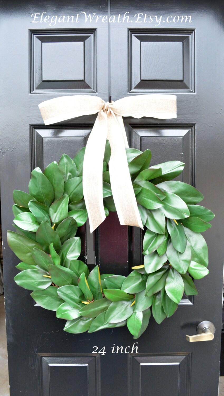 Magnolia Leaf Wreath: Artificial Magnolia Wreath Magnolia Leaves Door By