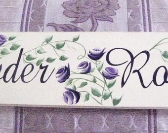 Powder Room Cottage Chic Shabby Sign Hand Painted Purple Roses Wooden Sign Shabby Country Shabby Chic