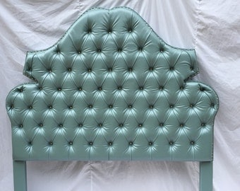 QUEEN Size Faux Leather Upholstered Tufted Headboard with Rhinestones Queen Headboard Tufted Upholstered Headboard with Rhinestones