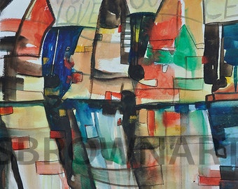 Vote For Love Watercolor Print African American Art Contemporary Home Decor