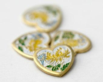Vintage Cabochons Gold Enamel Yellow Flower Heart Cabs Cloisonne 11mm (4)