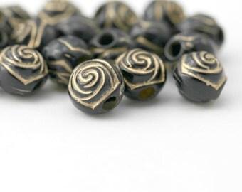 Acrylic Beads Etched Black Gold Acrylic Flower Rose Large Hole 10mm (20)