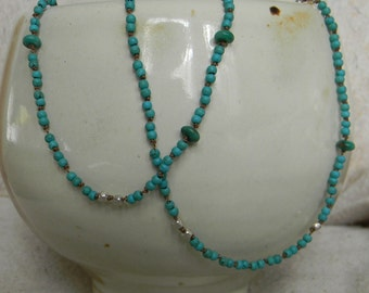 "20"" turquoise & sterling silver strand"