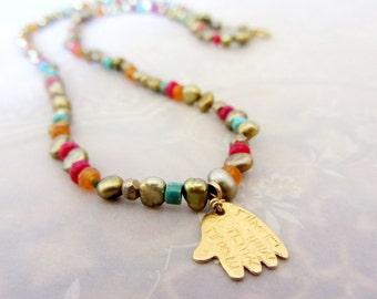 Hamsa necklace, Pearls necklace, Gold hamsa necklace, Bohemian pearls necklace