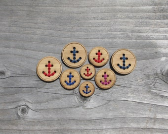 """Anchor Buttons (5/8"""", 3/4"""", 1"""", 1 1/4"""", 1.5"""", 2"""") Bamboo Wood Stitchable Button"""