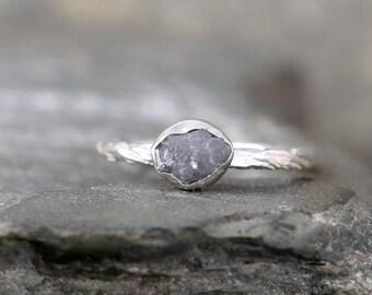 Raw Diamond Ring - Sterling Silver Bezel Set - Rough Diamond - Engagement Ring - Promise Ring - April Birthstone Rings