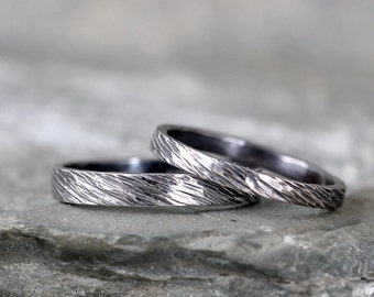 Sterling Silver Wedding Bands  - Oxidized Patina Silver Bands - Rustic Wedding Bands - Wedding Rings - His and Hers - Bark Hammered Texture