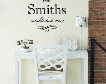 Custom Family Name and Established Year Wall or tile decal Wedding Gift Vinyl Lettering Decal Quote personalized