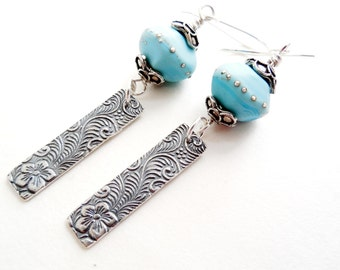 Turquoise Glass and Artisan Silver Drop Earrings, Lampwork Beads, Flowering Vines Sterling Silver, Bali Silver, Summer Fashion