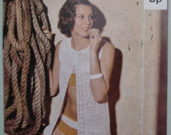 Vintage Crochet Pattern 1960s 1970s Bikini and Long Waistcoat Womens Beachwear Swim Wear UK original pattern