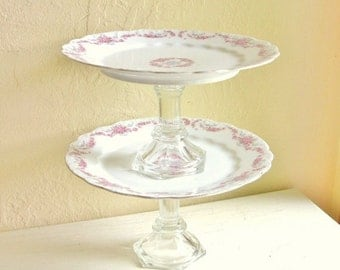 Matching Pair of Pedestal Dishes White with Pink and Purple Flowers