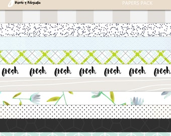 FRESH Scrapbook Papers, Instant Download, 10 Digital Paper Pack. 12'x12' pattern prints, Background