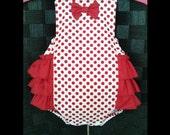 Baby Girl Romper - Valentines Romper - Baby Retro Romper - Cake Smash Outfit - Ruffle Romper - Red Polka Dots Romper - 1st Birthday Romper