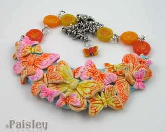 Citrus Butterfly Bib Necklace, polymer clay collage and beads on silver chain, adjustable length