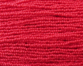 8/0 Opaque Light Red Czech Glass Seed Bead Strand (CW36)