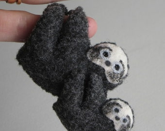 Sloth Mom and Baby felt plush stuffed animal with bendable legs and hand painted face -rain forest animal