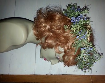 Head wreath woodland nymph Goddess purple star flowers  natural fairy fairie nymph vine