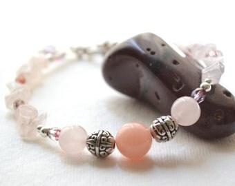 Pilialoha Rose Quartz Bracelet - Pink Jade, Silver, Crystal, Handmade OOAK, Free US Shipping, Metaphysical Healing Jewelry, Luck in Love