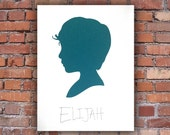 Custom Silhouette Portrait - HANDWRITTEN TEXT - Handmade Cut Silhouette - Trending Modern Traditional Silhouette - large size