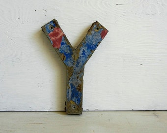 Metal Letter Y | Marquee Signage | Chippy Paint | Uppercase Y | Red Blue Letter