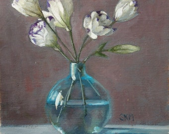 white flowers, antique turquoise bottle, still life, original painting, oil painting, home decor