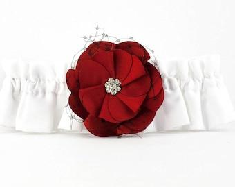 Red and Black Rose Wedding Garter - 50104RB