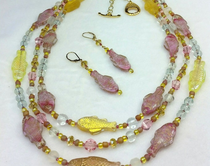 Coy Koi Glass Pastels Multi Strand Necklace and Earrings Set
