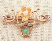 Antique 10K Gold Art Nouveau Floral Brooch with Natural Pearl, Amazonite, Clear Paste and a 14K Gold Flower