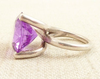 SALE ----- Size 4.75 Vintage Handmade Sterling Matrix and Huge Synthetic Purple Sapphire Ring